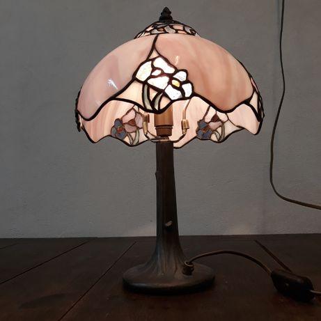 Zabytkowa lampa witrażowa stołowa, mosiężna, cyna, styl tiffany