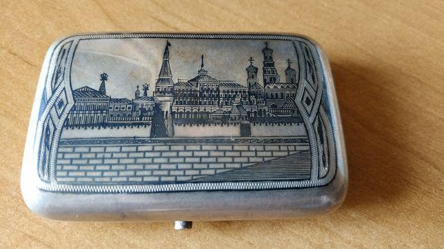 Старинный серебряный портсигар 84 пробы