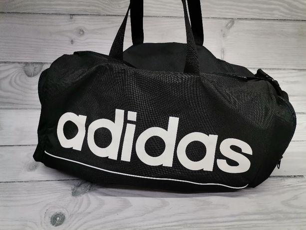 Torba ADIDAS czarno biała na ramię treningowa sportowa NOWY MODEL L