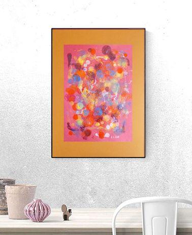 dekoracja w ciepłych kolorach, abstrakcja do loftu, grafika do salonu