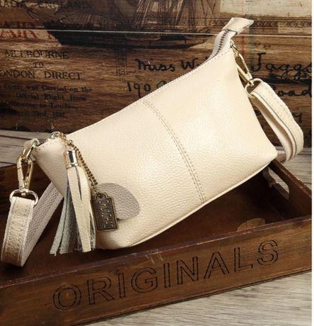 Небольшая сумка из натуральной мягкой кожи, кремового цвета. Новая.