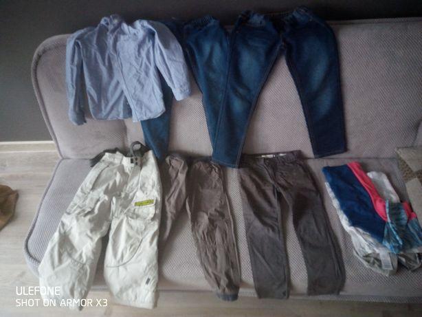 Spodnie 104-110 dżinsy oraz spodenki narciarskie