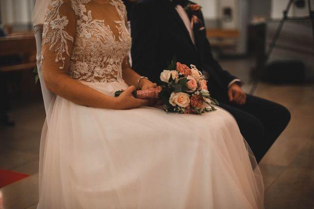 Suknia ślubna rozmiar 36-38 suknia chloe tiul rękaw tiul 175 cm