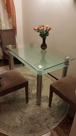 Szklany stół, dwupoziomowy (140 x 80 x 75)