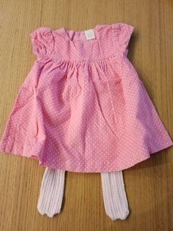 Sukienka dziewczęca i rajstopy r 68