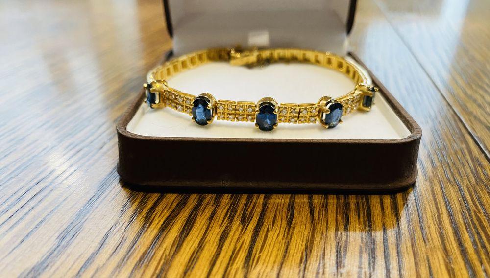 Золотой Браслет с бриллиантами и сапфирами Киев - изображение 1