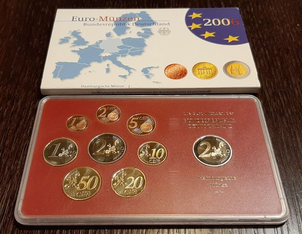 "Zestaw monet z mennicy Hamburg ""J"" + moneta 2 Euro Schleswig-Holstein"
