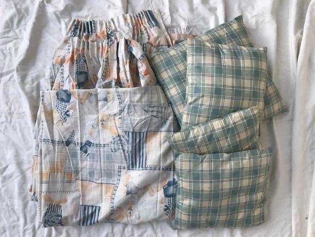 Conjunto cortinados, almofadas para criança