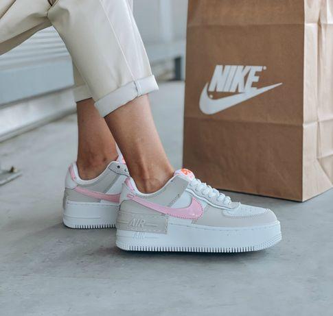 Кроссовки Nike air force 1 low Shadow Grey/White/Pink/Найк айр форс
