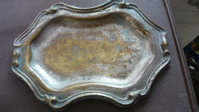 Stara srebrzona taca na przepiórki