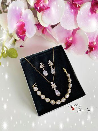 Zestaw biżuterii ślubnej w odcieniu szampańskie złoto