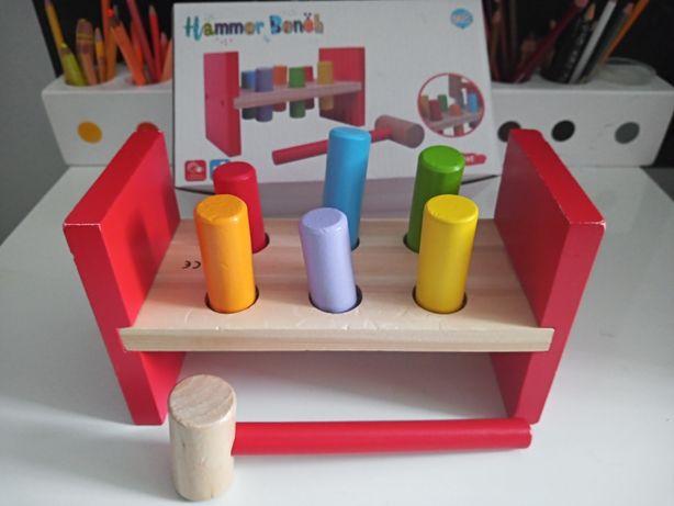 Młotek drewniane kolki do wbijania zabawka dla dzieci