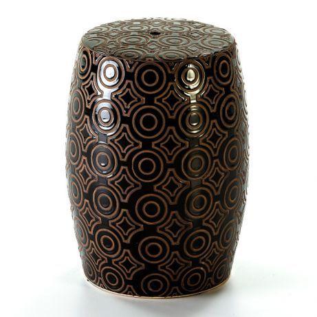 Mesa Redonda Apoio Tamburete Cerâmica Preto- by OVO Home Design