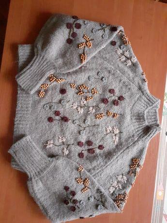 Zara nowy sweterek ozdobiony koralikami 36 s