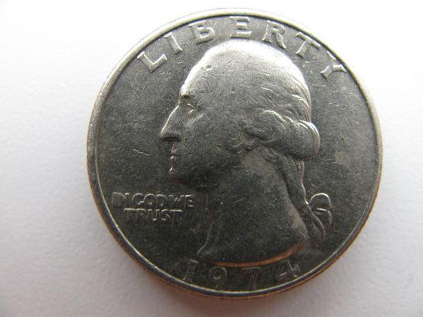 Монета - перевёртыш LIBERTY QUARTER DOLLAR (25 центов) 1974г.