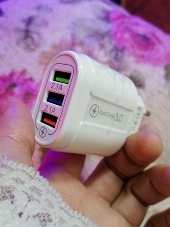 Мощная USB зарядка на 3порта 3.5А