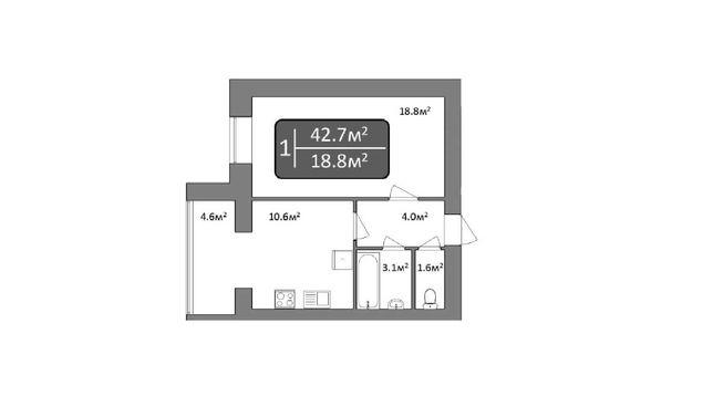 """1 комнатная квартира в ЖК """"Dream Central"""" на проспете Центральном"""