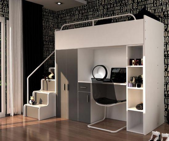 Łóżko piętrowe z szafą i biurkiem, kolor szary, lewostronne