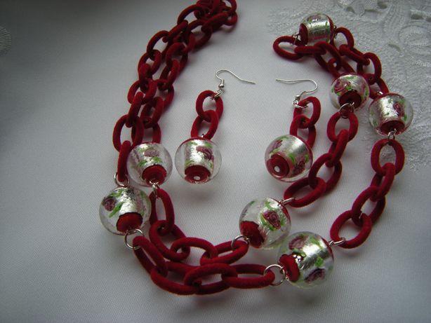 naszyjnik i kolczyki łańcuch czerwony 74cm z kulkami lampwork