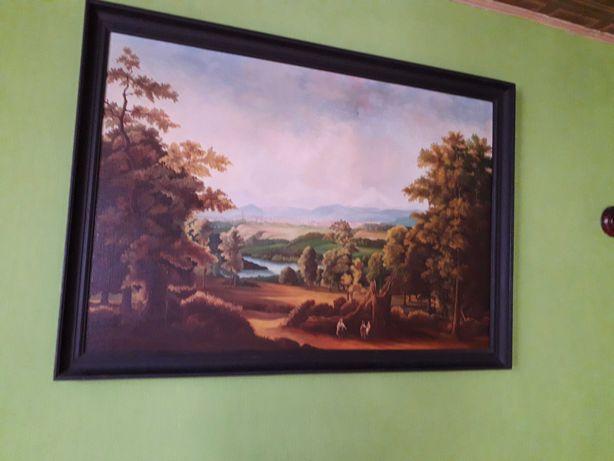 Duży obraz olejny na płótnie - krajobraz / drzewa / natura