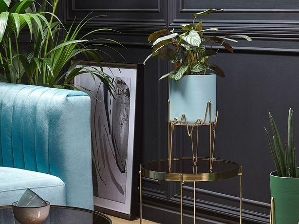 Suporte metálico para vasos 19 x 19 x 39 cm azul e dourado KALANDRA - Beliani