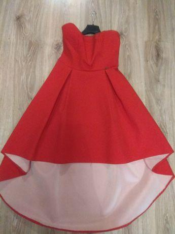 Asymetryczna, piankowa sukienka z dłuższym tyłem. Rozmiar 40 OKAZJA !