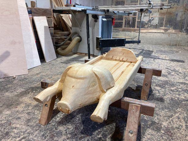 Drewniane koryto korytko taca na mięso do potraw