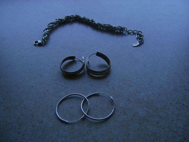 kolczyki 2 pary - srebro i bransoletka