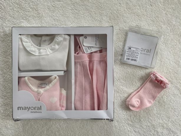 Mayoral spódniczka, sweterek  i bluzeczka + skarpety 1-2 mies 60 cm
