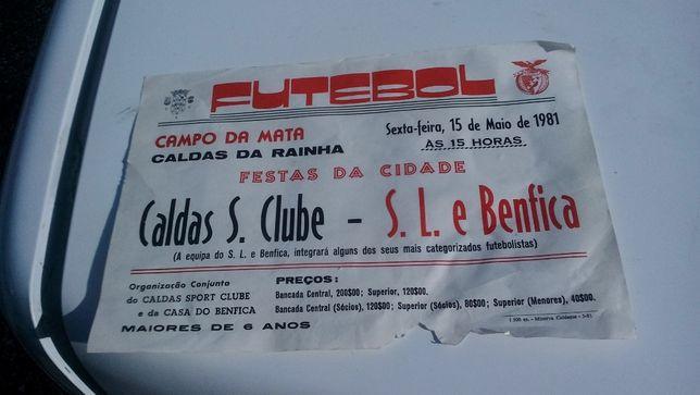 panfletos grandes do Caldas-Benfica