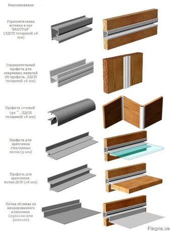 Алюминиевый профиль для мебели, торгового оборудования