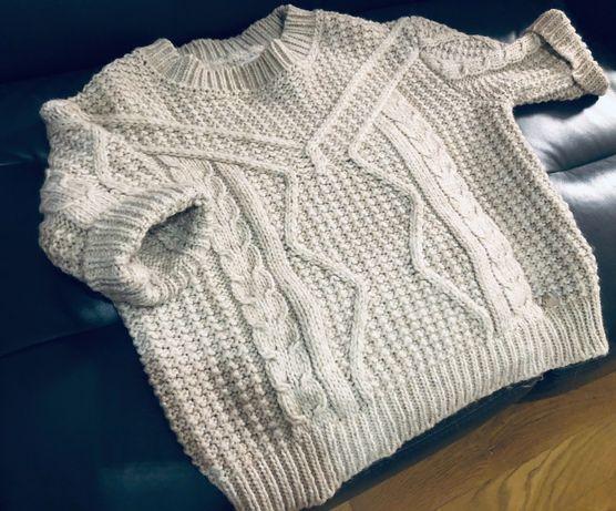 Sweter 3/4 z grubej przędzy ecru