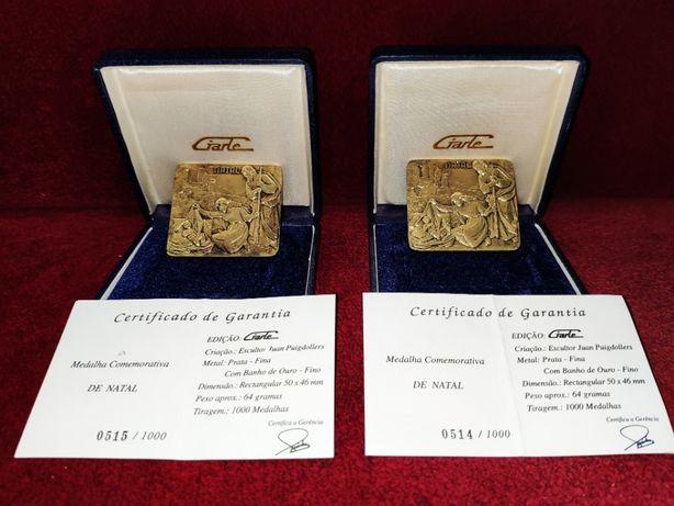 2 Medalhas Prata-Fina com Banho em Ouro Giarte
