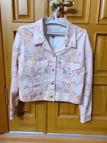 Джинсовая куртка с цветочным принтом цвета персика М фирма Sanctuary