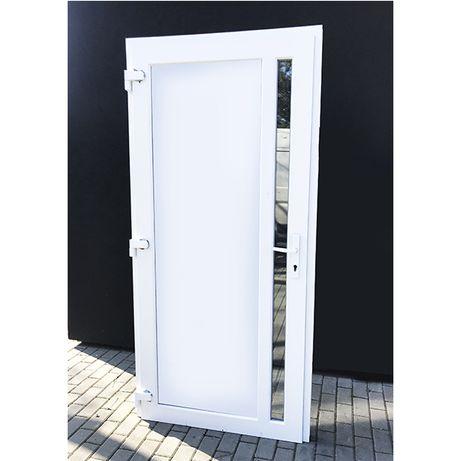 Drzwi PCV zewnętrzne kolor biały wejściowe NOWE 100x210