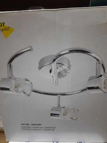 lampa sufitowa cristall 2 punktowe spirale, 3-ramienna, chromowana