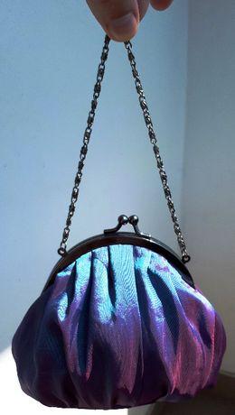 Torebka piękna cieniowana fiolet i błękit mała bigiel