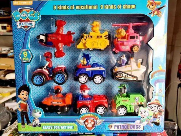9 figurek piesków w pojazdach ekipa Psi Patrol - zabawki