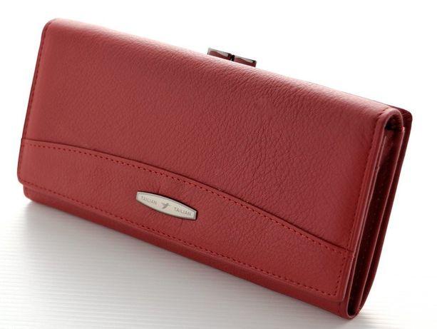 Женский кожаный кошелек TAILIAN Натуральная кожа цвет красный и черный