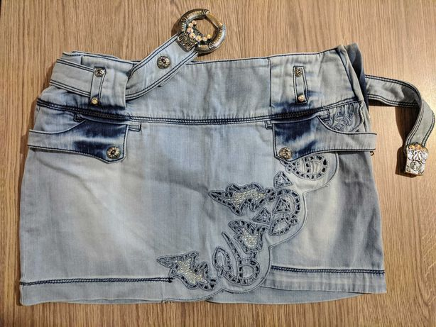 Юбка летняя джинсовая со стразами Swarovski