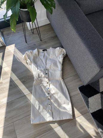 Biala jeansowa sukienka Bershka