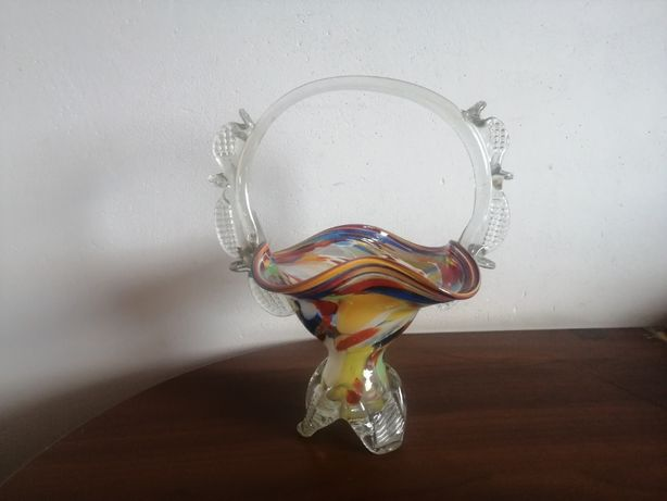 Duży szklany koszyk Ząbkowice kolorowe szkło z PRL vintage