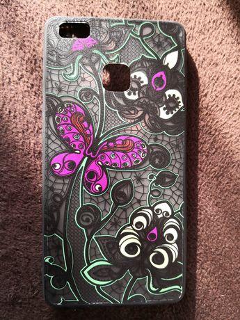 Etui case na telefon Huawei p9 lite kolorowy róż czarny wzorki motylki