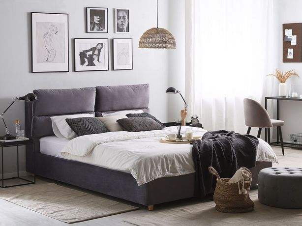 Cama de casal em veludo cinzento com arrumação 180 x 200 cm BATILLY - Beliani