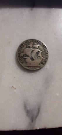 Duas moedas de prata Caravela 2$50 escudos de 1940