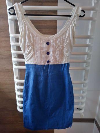 Sukienka kremowo niebieska