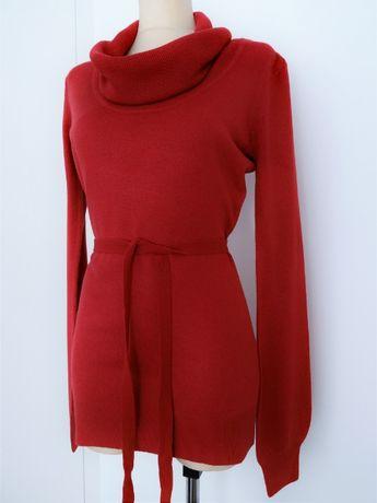 Bordowy długi sweter z golfem Orsay rozm. 36 - stan idealny