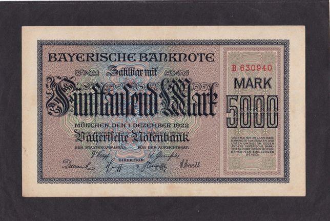5 000 марок 1922г. Бавария. Германия. Отличная в коллекцию.