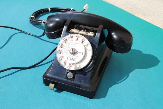 """Telefone de disco antigo Francês """"Burgunder"""" baquelite vintage"""