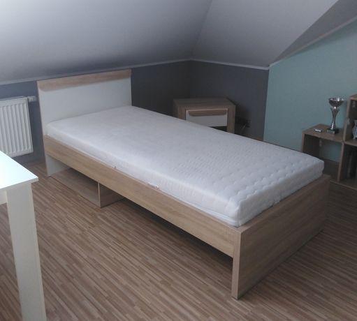 Łóżko 90x200 cm, dąb sonoma + materac Janpol Klio